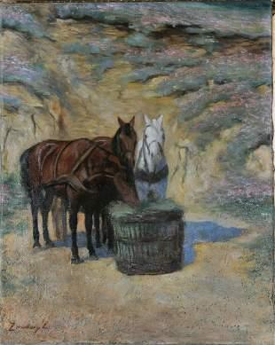Three Horses Eating Hay Oil Painting