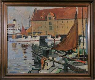 View of A Harbour Oil Painting