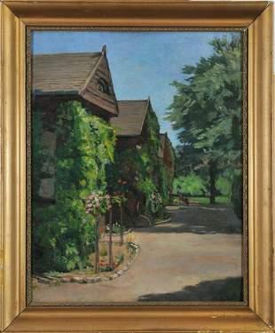 Summer Street Scene Oil Painting