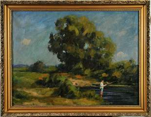 Fishing Boy On the Riverbank Oil Painting