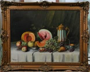 Fruit Still Life, 1902 Oil Painting