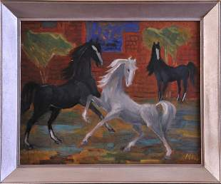 Jumping Horses Oil Painting