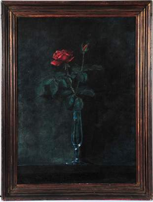 Untitled Roses in a Vase by Martin Johnson Heade
