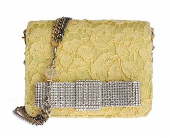 Yellow Lace Crystal Shoulder Hand Clutch Purse