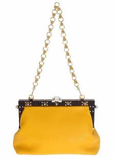 Yellow Leather Crystal Evening Party VANDA Bag