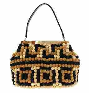 Black Sara Raffia Leather Shoulder Pebbled Frame Bag