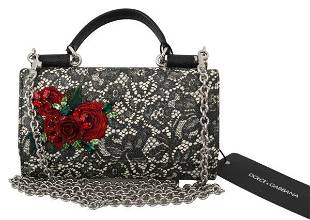 Black Lace Leather Crystal Roses Sicily Von Purse Bag