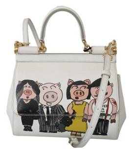 White Year Of The Pig Leather Purse Satchel SICILY Bag