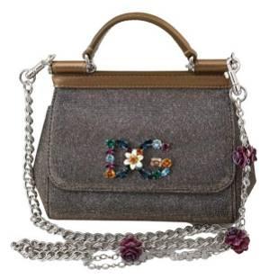 Gray Crystals Crossbody Mini Satchel SICILY Cotton Bag