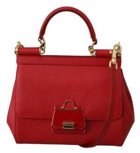 Red Shoulder Purse Borse Satchel Leather SICILY Bag
