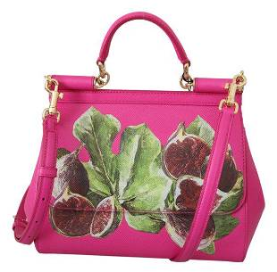 Pink Fig Fruit Shoulder Purse Borse SICILY Leather Bag
