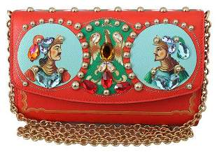 Red Crystal Clutch Sicily Women Leather Purse