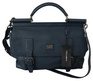Blue Mens Shoulder Strap Satchel Borse Travel Leather