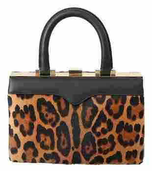 Leather Brown Leopard Hand Purse Clutch Borse Eva Bag