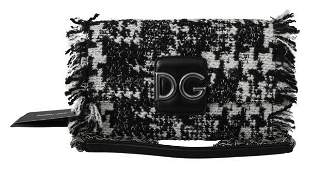 Black White Wool Leather Millennials Borse Bag