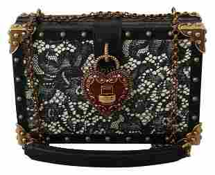 BOX SICILY Black Lace Gold MY HEART Leather Purse