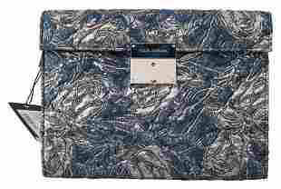 Blue Silver Jacquard Leather Document Briefcase Bag