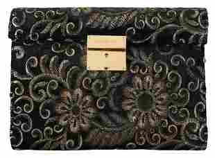 Black Ricamo Sequined Leather Document Briefcase Bag