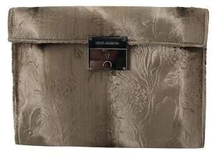 Beige Velvet Floral Leather Men Document Briefcase
