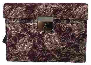 Bordeaux Jacquard Leather Mens Document Briefcase Bag
