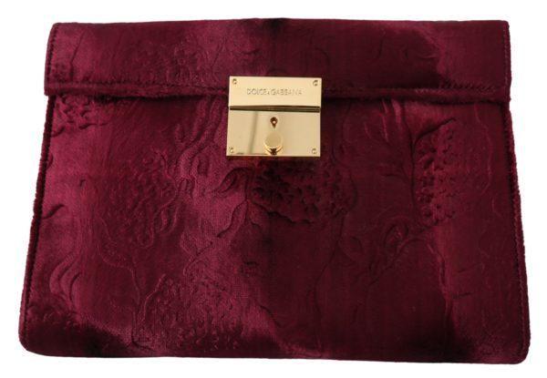 Bordeaux Velvet Leather Women Document Briefcase Bag