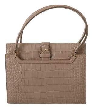 Beige Crocodile Print Leather INGRID Purse