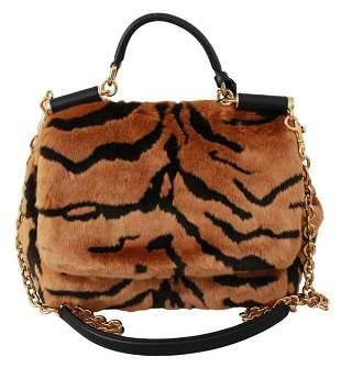 Brown Tiger Print Fur Shoulder Sling Purse SICILY Bag