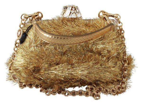 Gold White Crystals Clutch Shoulder Purse VANDA Bag
