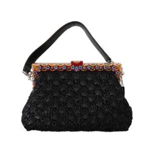 Black Raffia Leather Borse VANDA Carretto Purse
