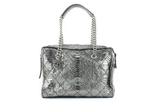 Chanel Iridescent Metallic Silver Python Bowler Chain
