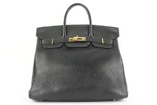 Hermes Black Leather Birkin Haut A Courroies 32 Hac Bag