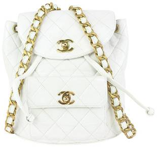 Chanel White Quilted Lambskin Duma Backpack Gold Chain