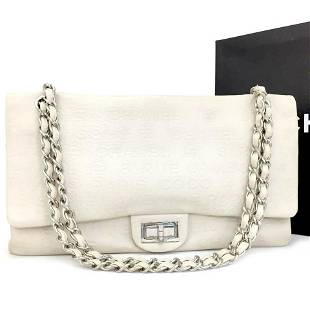 Chanel Embossed Ivory 2.55 31 Rue Cambon Maxi Classic