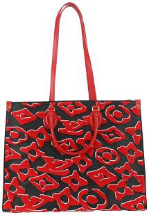 Louis Vuitton Urs Fischer Monogram Red OntheGo Tote Bag