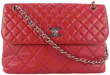 Chanel Red Quilted Lambskin Jumbo Flap Silver Chain Bag