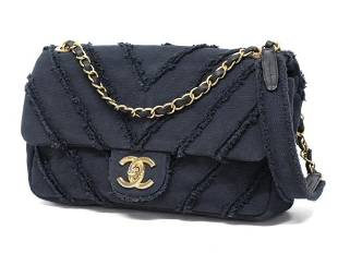 Chanel Chevron Black Medium Classic Chain Flap Cruise