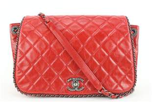 Chanel Quilted Red Leather Chain Around Flap Bag