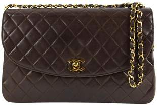 Chanel Chocolate Brown Quilted Lambskin Large Gold