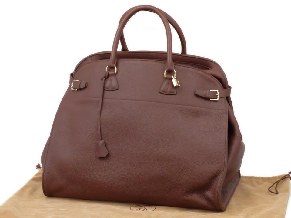 Hermes Havane Brown Clemence Leather Atlas Travel 50cm
