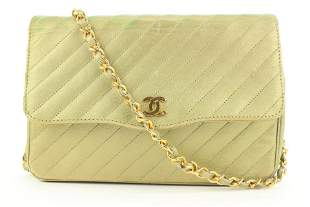 Chanel Chevron Quilted Gold Leather Chain Flap Bag