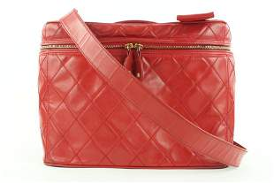Chanel Red Quilted Vanity Case Tote Box With Strap
