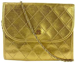 Chanel Gold Quilted Leather Mini Flap