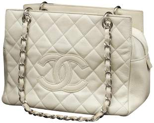 Chanel Off-White Quilted Caviar Petite Shopping Tote