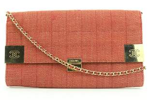 Chanel Large Red Quilted Denim Chocolate Bar Chain Flap