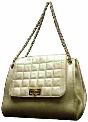 CHANEL Quilted Metallic Leather Accordion Flap Gold