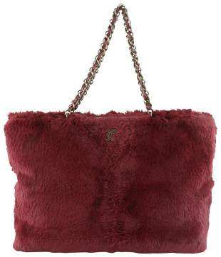 Chanel Bordeaux Rabbit Fur Lapin Chain Shopper Tote Bag