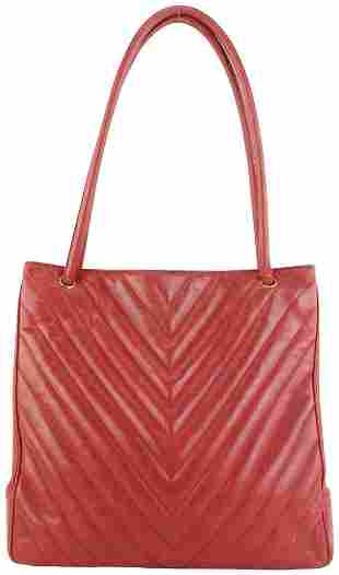 Chanel Large Red Caviar Leather Quilted Chevron Shopper