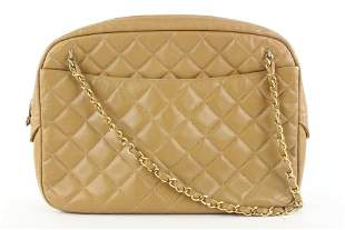 Chanel Light Brown Tan Quilted Leather Camera Bag