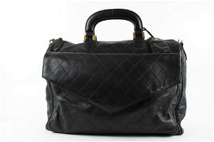 Chanel Large Black Quilted Lambskin Briefcase Luggage