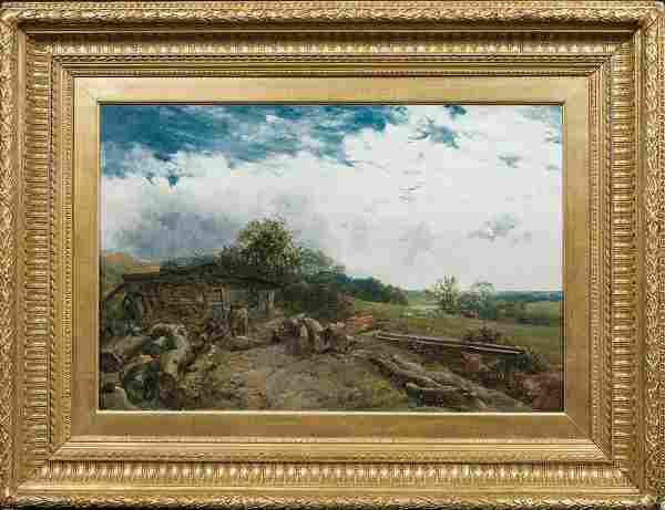 Loggers Summer Landscape Oil Painting